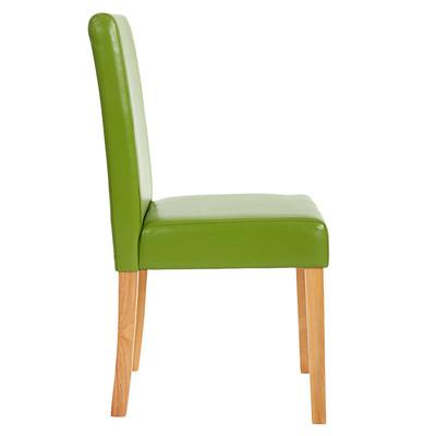 2x Esszimmerstuhl Stuhl Lehnstuhl Littau ~ Kunstleder, grün, helle Beine – Bild 6