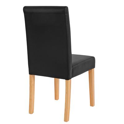 2x Esszimmerstuhl Stuhl Lehnstuhl Littau ~ Kunstleder, schwarz matt, helle Beine – Bild 4