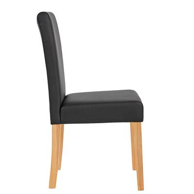2x Esszimmerstuhl Stuhl Lehnstuhl Littau ~ Kunstleder, schwarz matt, helle Beine – Bild 3