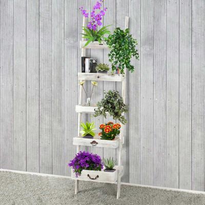 Regal Standregal Pflanzregal Blumenständer, 169x43x32cm, Shabby-Look, Vintage ~ weiss – Bild 2