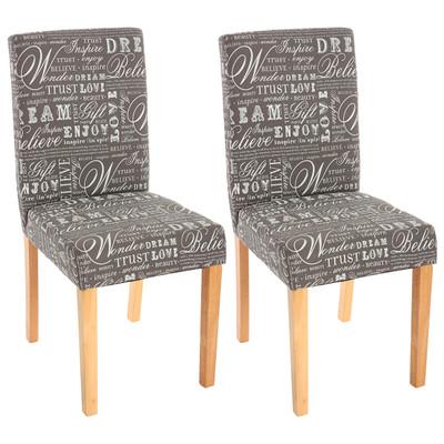 2x Esszimmerstuhl Stuhl Lehnstuhl Littau ~ Textil mit Schriftzug, grau, helle Beine – Bild 2