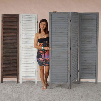 Paravent Raumteiler 170x138x2cm, Shabby-Look, Vintage ~ grau – Bild 6