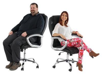 Profi-Bürostuhl Boston XXL Chefsessel Drehstuhl US-Version, 150kg belastbar, Kunstleder ~ schwarz – Bild 5