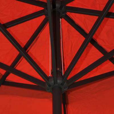 Alu-Sonnenschirm Meran, Gastronomie Marktschirm mit Volant Ø 5m ~ terrakotta mit Ständer – Bild 4