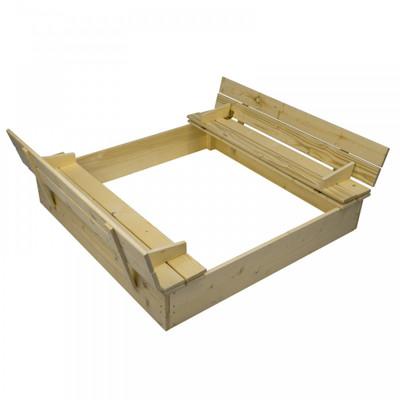 Sandkasten mit Abdeckung und Sitzbänken | 120x120 cm – Bild 1