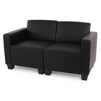 Modular 2-Sitzer Sofa Couch Lyon, Kunstleder ~ schwarz – Bild 2