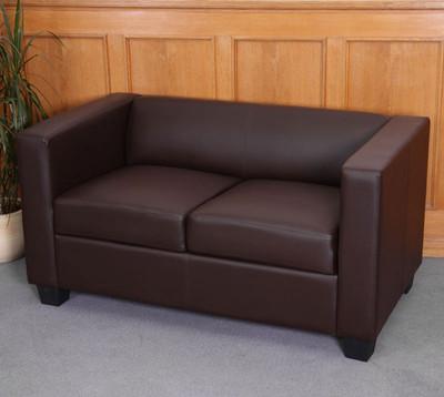 2er Sofa Couch Loungesofa Lille ~ Kunstleder, coffee – Bild 2