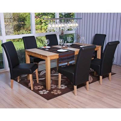 6x Esszimmerstuhl Lehnstuhl Stuhl M37 ~ Kunstleder matt, schwarz, helle Füsse – Bild 2