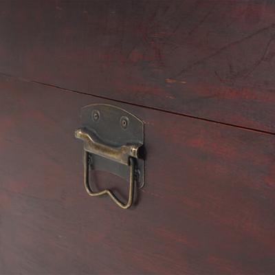 Holztruhe Holzbox Schatztruhe Valence Antikoptik 39x67x38cm ~ rund – Bild 3