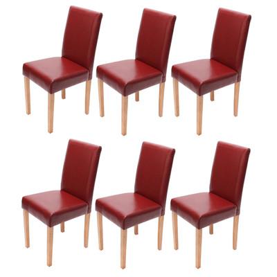 6x Esszimmerstuhl Stuhl Lehnstuhl Littau ~ Leder, rot, helle Beine – Bild 1