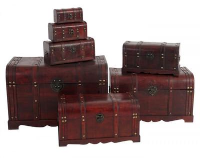 2er Set Holztruhe Geschenkbox Holzbox Schatztruhe Valence Antikoptik 13x29x14cm ~ rund – Bild 3