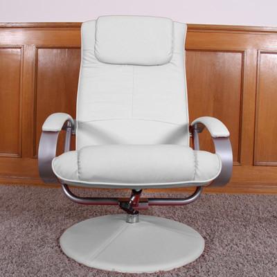 Relaxliege Relaxsessel Fernsehsessel N44 mit Hocker ~ weiss – Bild 3