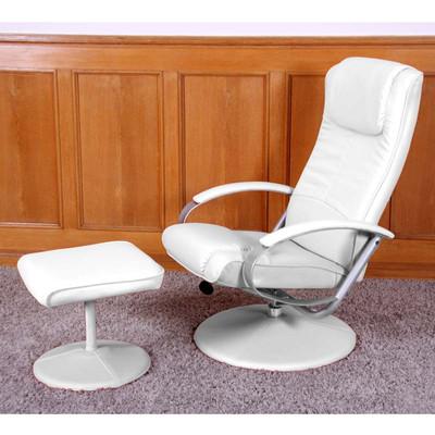 Relaxliege Relaxsessel Fernsehsessel N44 mit Hocker ~ weiß – Bild 7