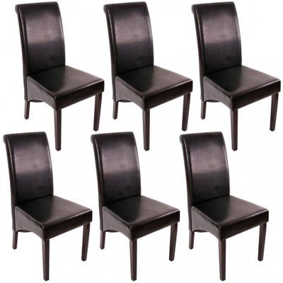 6x Esszimmerstuhl Lehnstuhl Stuhl M37 ~ Leder, schwarz, dunkle Füsse – Bild 1