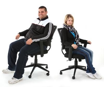 Profi-Bürostuhl Seattle, Chefsessel Drehstuhl, 150kg belastbar, Kunstleder ~ schwarz mit Armlehnen – Bild 2