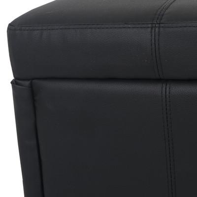 Aufbewahrungs-Truhe Sitzbank Bank Kriens Kunstleder, 112x45x45cm ~ schwarz matt – Bild 6