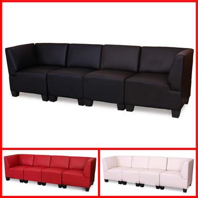 Modular 4-Sitzer Sofa Couch Lyon, Kunstleder ~ creme, hohe Armlehnen – Bild 5