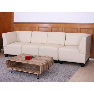 Modular 4-Sitzer Sofa Couch Lyon, Kunstleder ~ creme, hohe Armlehnen – Bild 2