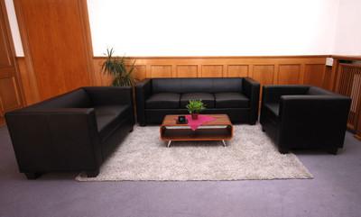 2er Sofa Couch Loungesofa Lille ~ Kunstleder, schwarz – Bild 5