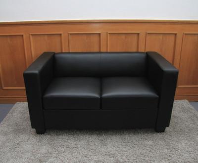 2er Sofa Couch Loungesofa Lille ~ Kunstleder, schwarz – Bild 6