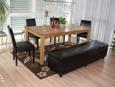 Garnitur Sitzgruppe Bank mit Aufbewahrung Kriens XXL+4 Stühle Littau, Kunstleder/Leder ~ schwarz – Bild 2