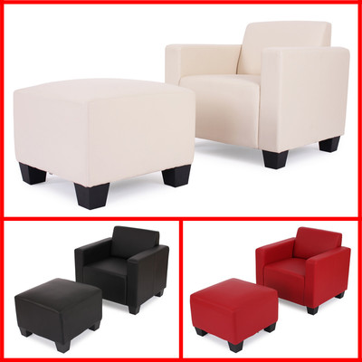 Modular Sessel Loungesessel mit Ottomane Lyon, Kunstleder ~ schwarz – Bild 5