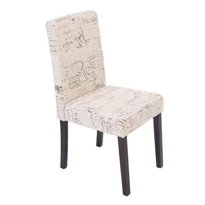 6x Esszimmerstuhl Stuhl Lehnstuhl Littau ~ Textil mit Schriftzug, creme, dunkle Beine – Bild 1