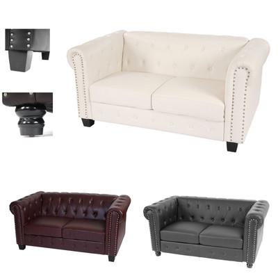 Luxus 2er Sofa Loungesofa Couch Chesterfield Kunstleder ~ eckige Füsse, weiss – Bild 5