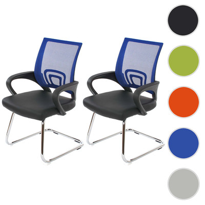 2x Konferenzstuhl Ancona, Besucherstuhl, Kunstleder ~ blau – Bild 9