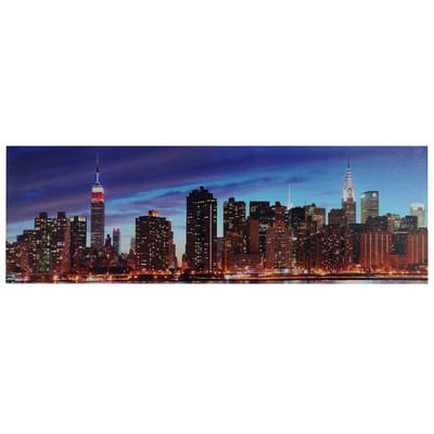 LED-Bild mit Beleuchtung, Leinwandbild Leuchtbild Wandbild, Timer ~ 120x40cm New York, flackernd – Bild 1
