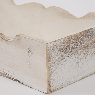3er Set Holzschale T283, Obstschale Dekoschale, Shabby-Look Vintage ~ weiss – Bild 4