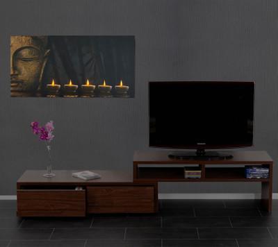 LED-Bild mit Beleuchtung, Leinwandbild Leuchtbild Wandbild, Timer ~ 110x55cm Buddha, flackernd – Bild 3