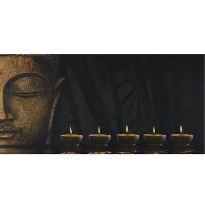 LED-Bild mit Beleuchtung, Leinwandbild Leuchtbild Wandbild, Timer ~ 110x55cm Buddha, flackernd – Bild 1