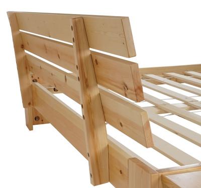 Bett Perth, Jugendbett, Massivholz incl. Lattenrost Ablage Kiefer ~ 140x200cm, natur lackiert – Bild 4