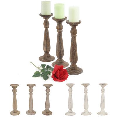 3er Set Kerzenständer T360, Kerzenhalter, Shabby-Look Vintage Höhe 35cm ~ weiss – Bild 4
