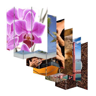Foto-Paravent Paravent Raumteiler Trennwand M68 ~ 180x120cm, Orchidee – Bild 5