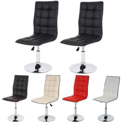 2x Esszimmerstuhl HWC-C41, Stuhl Lehnstuhl, höhenverstellbar drehbar, Kunstleder ~ weiss – Bild 5