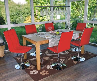 2x Esszimmerstuhl HWC-C41, Stuhl Lehnstuhl, höhenverstellbar drehbar, Kunstleder ~ rot – Bild 9