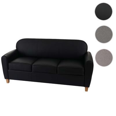 3er Sofa Malmö T377, Loungesofa Couch, Retro 50er Jahre Design ~ schwarz, Kunstleder – Bild 8