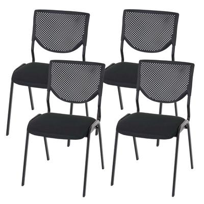 4x Besucherstuhl T401, Konferenzstuhl stapelbar, Textil ~ Sitz schwarz, Füsse schwarz – Bild 8