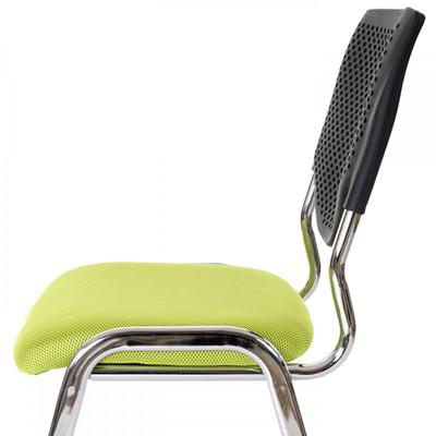 2x Besucherstuhl T401, Konferenzstuhl stapelbar, Textil ~ Sitz grün, Füsse chrom – Bild 3