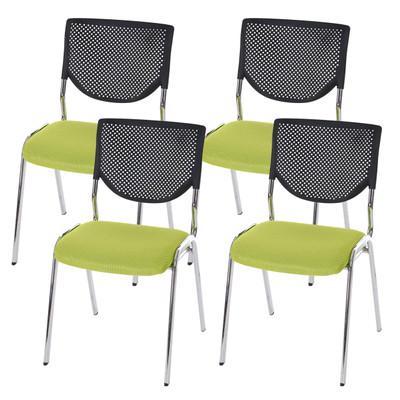 4x Besucherstuhl T401, Konferenzstuhl stapelbar, Textil ~ Sitz grün, Füsse chrom – Bild 8