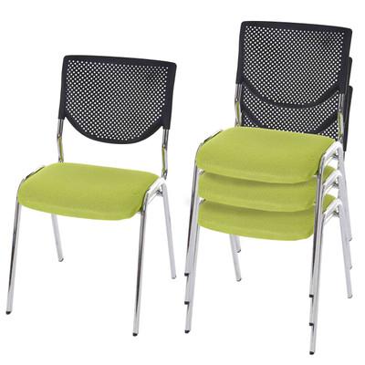 4x Besucherstuhl T401, Konferenzstuhl stapelbar, Textil ~ Sitz grün, Füsse chrom – Bild 2
