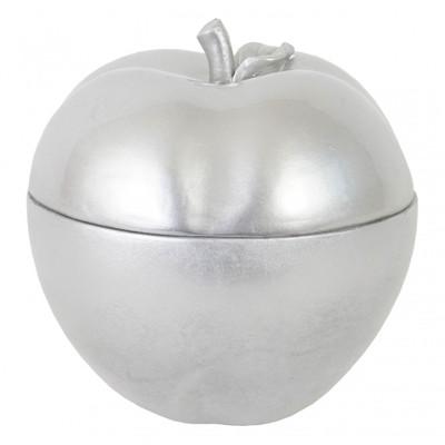 Deko Figur Apfel 21cm, Polyresin Schmuckdose Kosmetikdose, silber – Bild 2