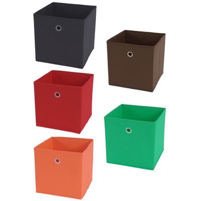 4x Faltbox T362, Aufbewahrungsbox Ordnungsbox, Textil 28x28x28cm ~ beige – Bild 5