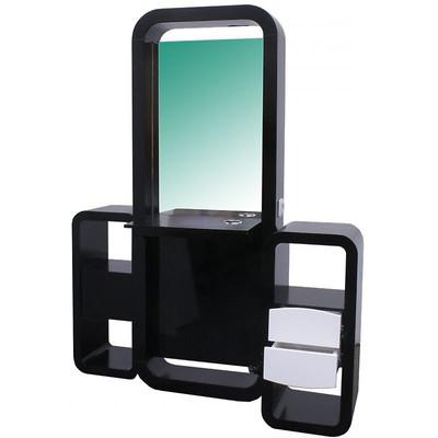 Spiegel VIGO doppelseitig schwarz-weiss, Schränkchen schwarz-weiss (B-Ware)