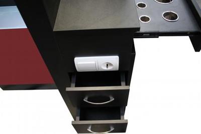 Spiegel TAVIANO doppelseitig schwarz, Acryl rot, mit LED – Bild 3