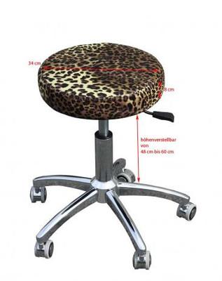 Rollhocker chromfuss leopard-natur – Bild 3