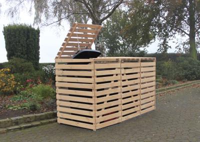 Mülltonnenbox Vario V für 3 Tonnen, natur