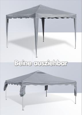 Alu/Metall Faltpavillon 3x3 Meter Grau – Bild 5